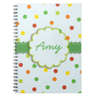 MultiColored Polka Dots with Medallion Notebooks