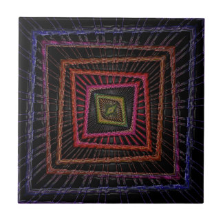 Multicolored psychedelic squares tablet sleeve ceramic tile
