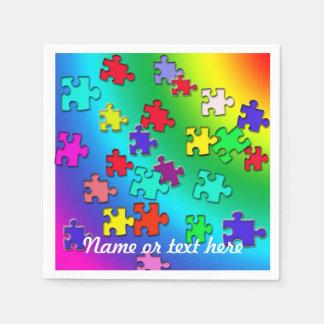Multicolored puzzles napkin