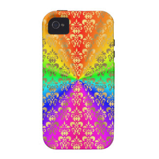 Multicolored rainbow colored damask iPhone 4 cover