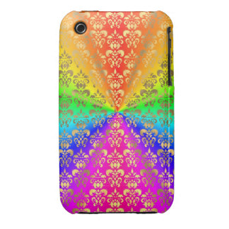 Multicolored rainbow colored damask iPhone 3 Case-Mate case
