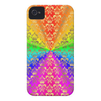 Multicolored rainbow colored damask iPhone 4 covers