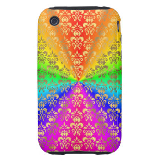 Multicolored rainbow colored damask iPhone 3 tough cover