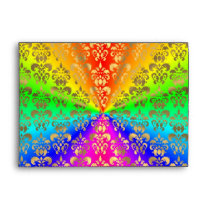 Multicolored rainbow colored damask envelope