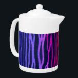"Multicolored rainbow zebra stripe teapot<br><div class=""desc"">Multicolored rainbow zebra stripe neon animal print teapot.  Red,  orange,  yellow,  green,  blue,  purple,  hot pink,  black stripes design.</div>"
