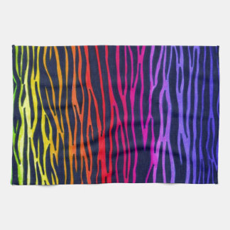 Multicolored Rainbow Zebra Stripe towel