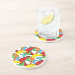 Multicolored Retro Boomerang Pattern Drink Coasters