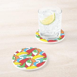 Multicolored Retro Boomerang Pattern Coaster