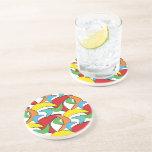Multicolored Retro Boomerang Pattern Drink Coaster