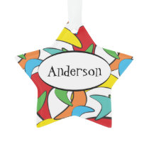 Multicolored Retro Boomerang Pattern Ornament