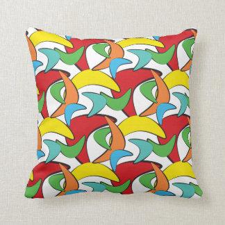 Multicolored Retro Boomerang Pattern Pillow