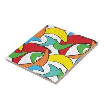 Multicolored Retro Boomerang Pattern Tile
