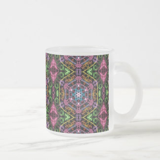Multicolored Retro Pattern Frosted Glass Coffee Mug