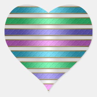 Multicolored Ribbons Stripes in Pink Blue Purple Heart Sticker