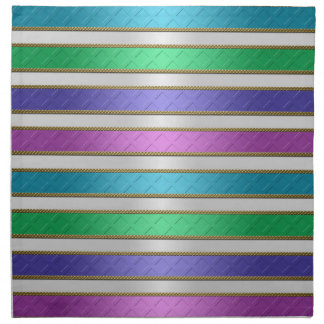 Multicolored Ribbons Stripes in Pink Blue Purple Printed Napkin