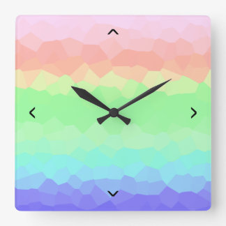 Multicolored Rock Candy Rainbow Light Colored Square Wall Clock