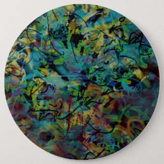 Multicolored Scribbled Abstract Art Pinback Button