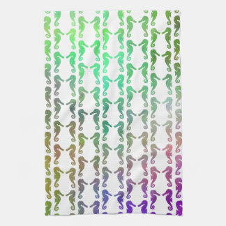 Multicolored Seahorse Pattern Hand Towel