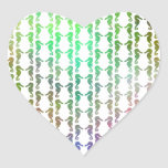 Multicolored Seahorse Pattern Heart Stickers
