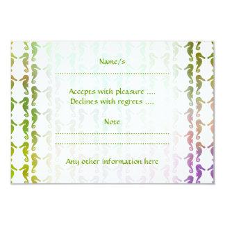 Multicolored Seahorse Pattern 3.5x5 Paper Invitation Card
