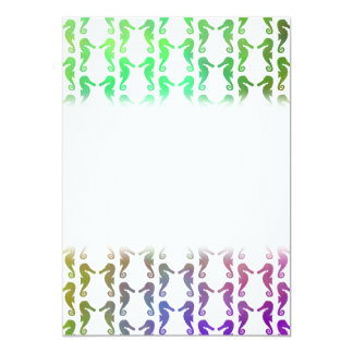 Multicolored Seahorse Pattern 5x7 Paper Invitation Card