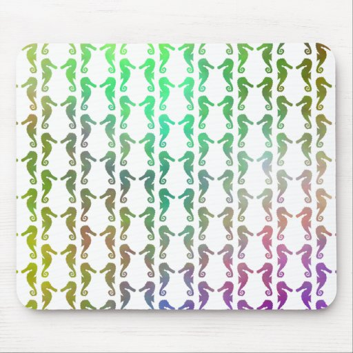 Multicolored Seahorse Pattern Mouse Pad