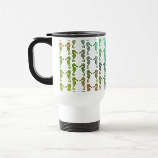 Multicolored Seahorse Pattern 15 Oz Stainless Steel Travel Mug