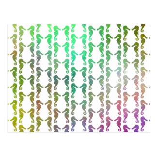 Multicolored Seahorse Pattern Postcard