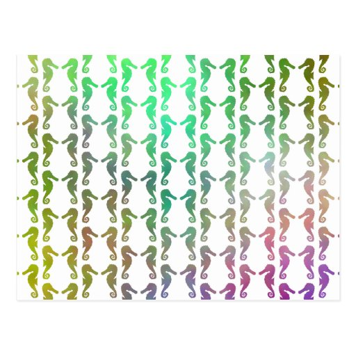 Multicolored Seahorse Pattern Postcard