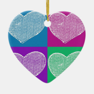 multicolored sequined hearts ornaments