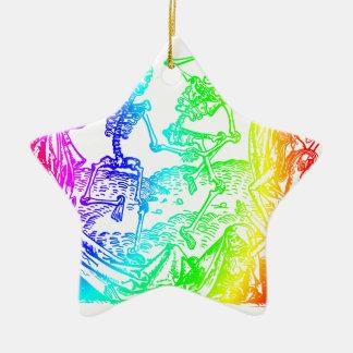 Multicolored Skeleton Dance Ceramic Ornament