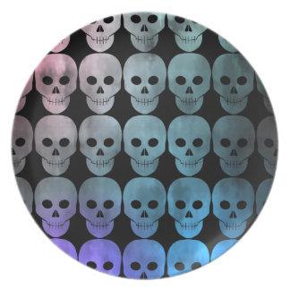 Multicolored skull pattern dinner plate
