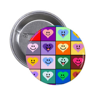 Multicolored Smiley Hearts Button