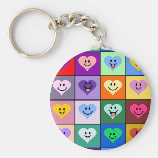 Multicolored Smiley Hearts Keychain