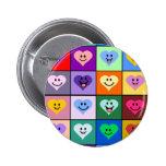 Multicolored Smiley Hearts Pinback Button