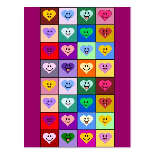 Multicolored Smiley Hearts Postcard