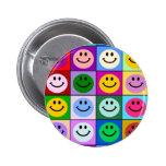 Multicolored Smiley Squares 2 Inch Round Button