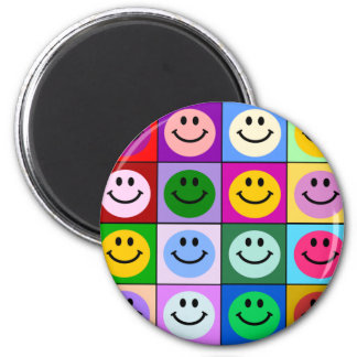 Multicolored Smiley Squares 2 Inch Round Magnet