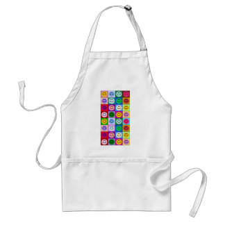 Multicolored Smiley Squares Adult Apron