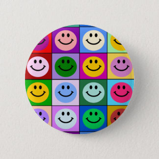 Multicolored Smiley Squares Button