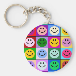 Multicolored Smiley Squares Keychain