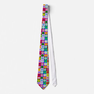 Multicolored Smiley Squares Neck Tie