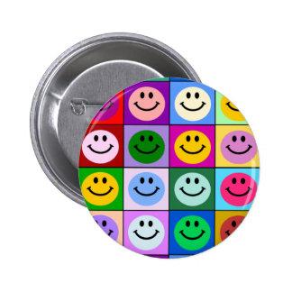 Multicolored Smiley Squares Pinback Button