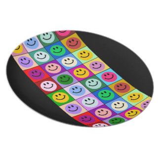 Multicolored Smiley Tiled Design Plate