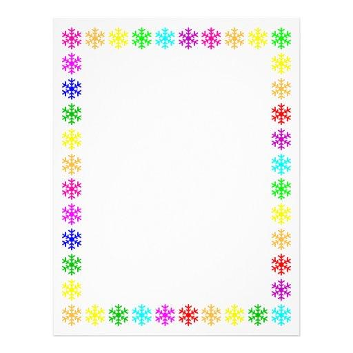 Snowflake Border For Word Multicolored snowflakes border