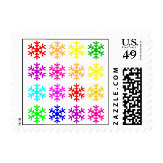 Multicolored Snowflakes Postage