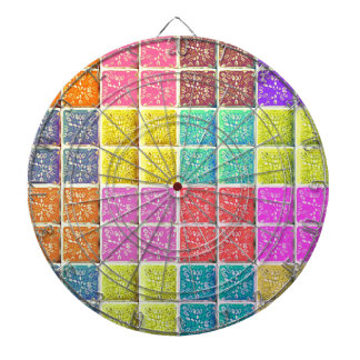 Multicolored Square Artistic Pattern Dartboard