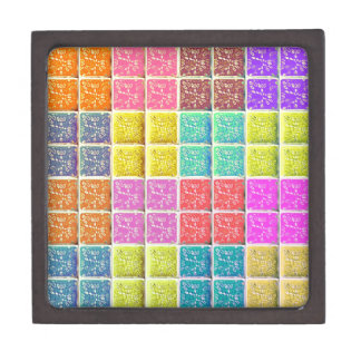 Multicolored Square Artistic Pattern Premium Trinket Boxes