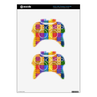 Multicolored Square Blanket  Embroidery Pattern Xbox 360 Controller Skins