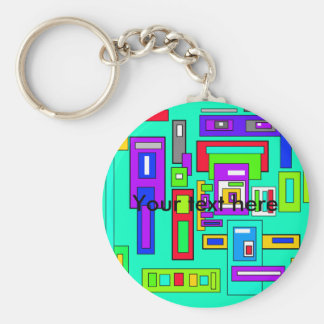 Multicolored squares and rectangle pattern on blue basic round button keychain